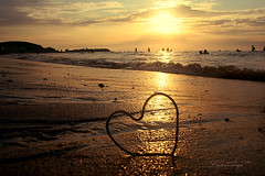 (ShanLuPhoto) Tags: ocean china sunset sea vacation love beach heart shandong weihai loolooimage