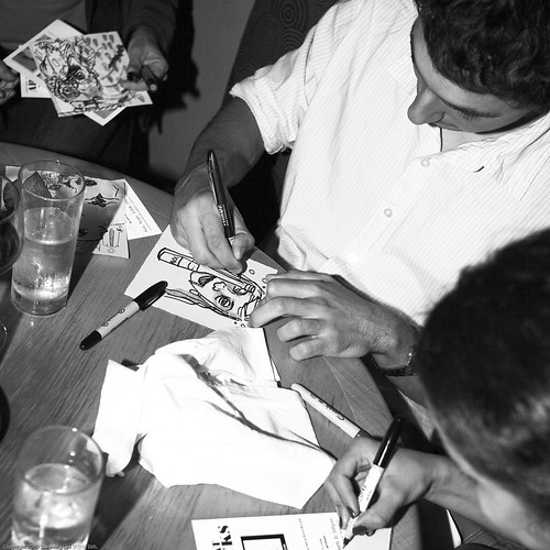 Obsessive Collaborative Drawing, Brooklyn Art Project FLASH ART MOB / 20090910.10D.53432.SQ.BW / SML (by See-ming Lee 李思明 SML)
