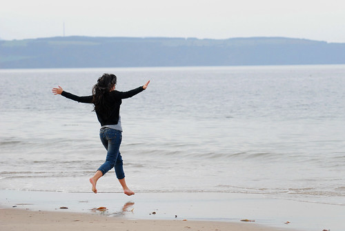 Taking off from Nairn Beach