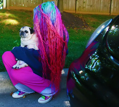 Pug Bum Misadventures (wisely-chosen) Tags: dog selfportrait tree grass car fence dawn pug september bebe redhair curb pinkhair bluehair orangehair 2009 picnik vwbeetle purplehair theempress beebs greenhair yellowhair rainbowhair verylonghair fawnpug colorfulhair lavenderhair naturallycurlyhair adobephotoshopcs4 manicpanicprettyflamingo manicpanicflaming manicpanicrubine manicpanicvampirered rescuedpug empressbebe empressbeebs manicpanicultraviolet manicpanicbadboyblue manicpanicfuschiashock manicpanicpurplehaze manicpanicshockingblue manicpaniclielocks manicpanicelectricbanana wedriveabug ivealwayslovedbugs allkindsofbugs especiallythevwvariety secretlyicallitthestinkbugbecausebeetleshaveasmell itsthescentofhotmetaltheengineorwhatever alsoremindsmeofthescentofablacksmithsshop remindsmeofthesmellofthemechanicsshopmydadworkedin