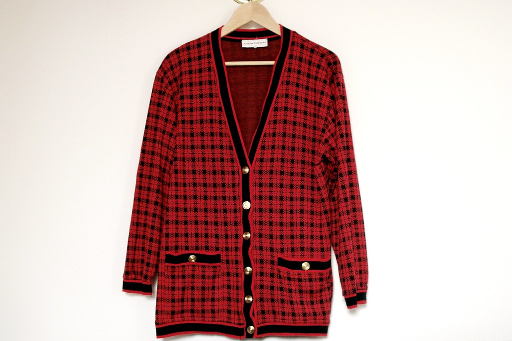 vintage plaid cardigan