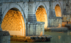 west is the best (batintherain) Tags: bridge sunset italy sun rome stone river arch arches ponte tiber tevere arcades hadrian santangelo aelian imagespace:hasdirection=false