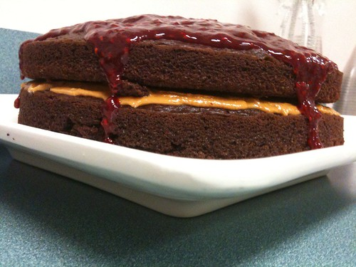 Chocolate Cake with Raspberry Glaze