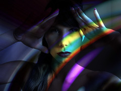 Rainbow in the Dark (crescentsi) Tags: light portrait woman color colour girl beauty face dark rainbow femme digitalart experiment bonita jolie bella hermosa visage prety beaute graphicmaster