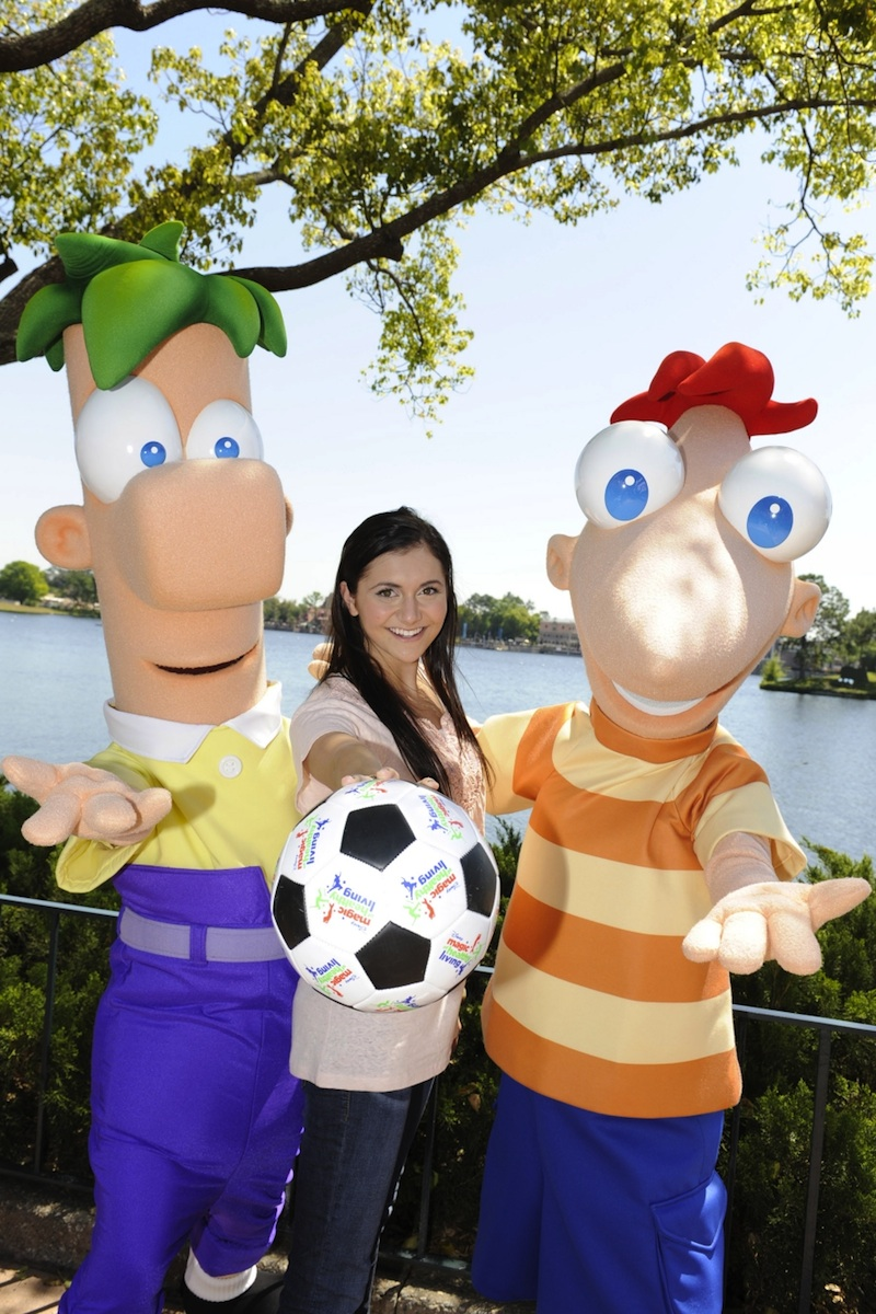 Phineas and Ferb with Disney Channel Star Alyson Stoner at a Disney Magic of Healthy Living Event