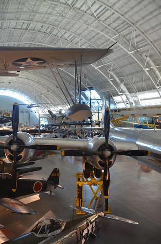 "Steven F. Udvar-Hazy Center: south hangar panorama, including Vought OS2U-3 Kingfisher seaplane, B-29 Superfortress ""Enola Gay"", among others"
