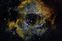 Rosette nebula - NGC 2237 mapped color (Brightway Photography) Tags: astrophotography orion dslr universe hydrogen sii oiii deepsky ngc2237 narrowband rosettenebula losmandy falschfarben astrofotografie canoneos20da rosettennebel takahashifs102 doublyionizedoxygen doublyion