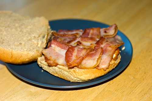 bacon lattice on a salmon burger