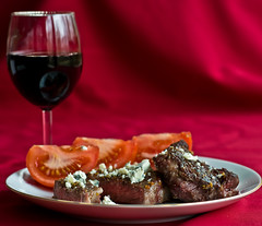 Steak! (Leo Druker) Tags: food cooking cheese 50mm wine beef indoor steak redwine gorgonzola d300 foodphotography indoorphotography