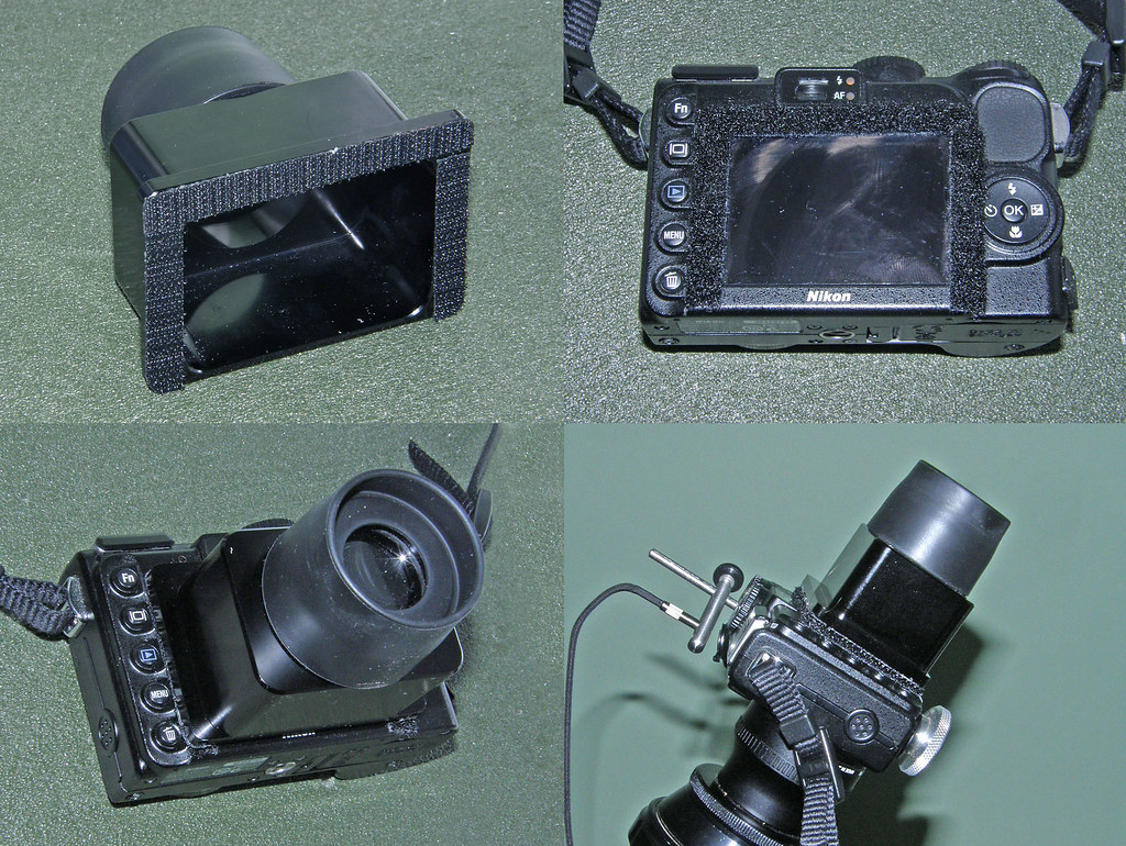 Xtend-a-View Pro WIDE Sunshade and Viewer fitted to a Nikon Coolpix P5100 camera