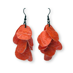 OrangeFlakes (weggart) Tags: orange recycled plasticbag earrings fusedplastic alternativematerialjewelry