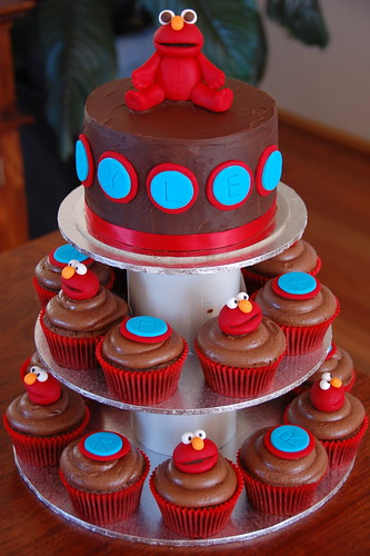 Elmo Cupcake Tower 1st Birthday