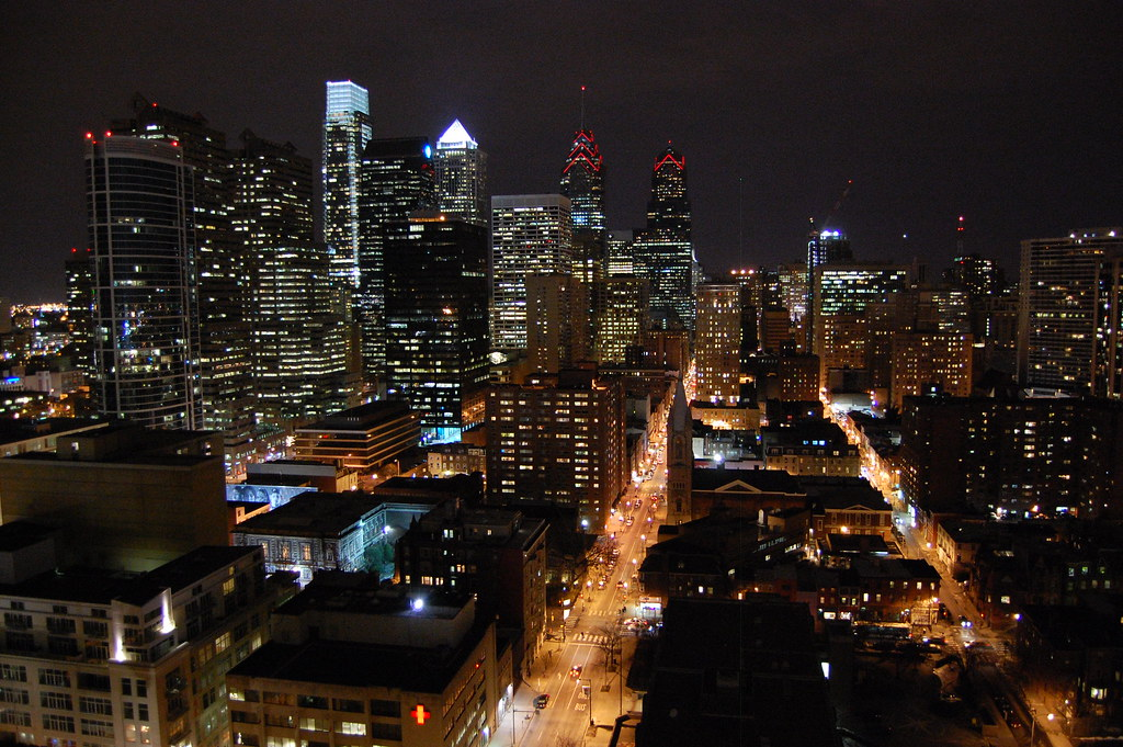 Philadelphia at night.