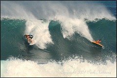 Two For The Price Of One (Pink Hibiscus) Tags: hawaii nikon surf oahu surfer duo pipe northshore fullframe fx pipeline 2009 allrightsreserved bigwaves copyrighted banzaipipeline bodyboarder pinkhibiscus mywinners yellowboard d700