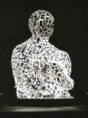 Sculpture WE by Jaume Plensa, at Jan Palach Square (Christian Bredfeldt) Tags: light sculpture art project square prague jan letters praha praga we transparency plensa jaume palach