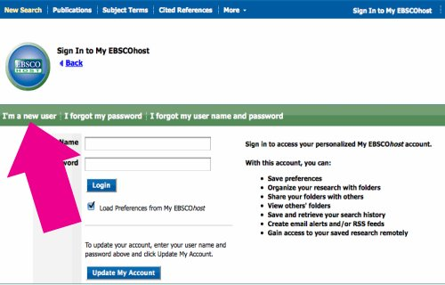 screenshot - EBSCOhost I'm a New User