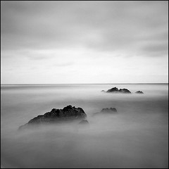 sea of fantasy #5 (yein~) Tags: longexposure sea blackandwhite bw seascape 120 tlr film rolleiflex mediumformat square kodak squareformat 100tmx 40fw