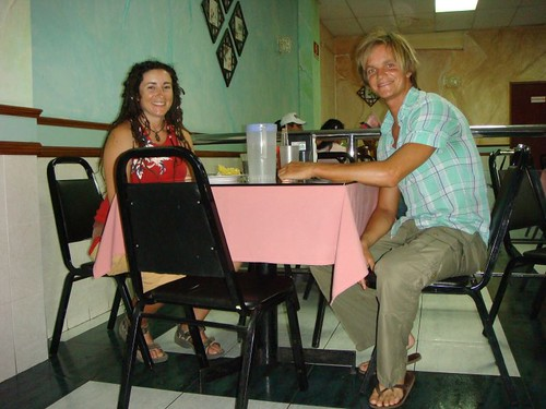 Aussie Claire and I in a Chinese restaurant in Davíd, Panama...