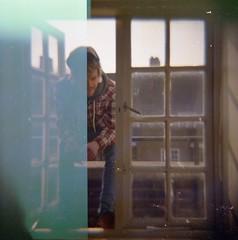 Besford House (Hannah Alicia) Tags: boy pierced london 120 rooftop window bedroom distorted lightleak diana hardcore shoreditch americanapparel everyday piercings eastlondon expiredfilm e2 hxc fleshtunnels