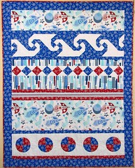 Rory's Rockets (emma_louise) Tags: blue original red white quilt quilting rockets patchwork commission homedecor feature foundationpieced bedquilt printscharming fmq sampaguitaquilts