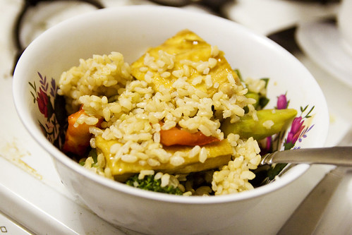 veg and tofu stir fry and rice