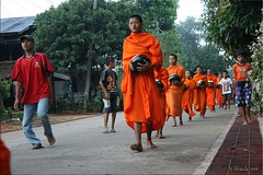 Here come the Monks (Ursula in Aus (Away)) Tags: street morning man male thailand buddhist monk buddhism mon kanchanaburi alms  sangkhlaburi   globalspirit almsbowl earthasia