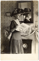 The Reader (1910) (postaletrice) Tags: old madame portrait woman newyork reflection girl hat lady vintage magazine reading mirror photo newspaper newjersey clothing mujer fireplace veiled veil dress unitedstates reader drawing robe antique retrato interior room postcard femme revista journal young antigua chapeau espejo reflejo northamerica postal sombrero elegant habitacin miroir lecture velo ropa seorita vestido postale dama saladeestar carte joven mademoiselle lectura ancienne elegance estadosunidos nuevayork lecteur chimenea elegante peridico seora tarjeta lectora leyendo vtement muchacha cpa northamerican tatsunis rppc