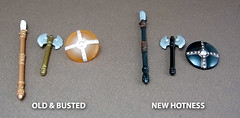 Old vs. New (Morgan190) Tags: lego axe shield custom weapons spear morgan19