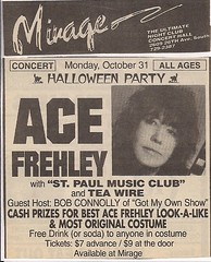 10/31/94 Ace Frehley @ Mirage, Minneapolis, MN (Print Ad)