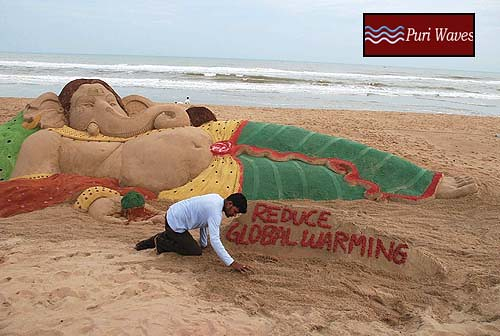 Sand Art Lord Ganesh