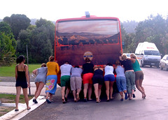 Bloody Bus! (Gaynor17) Tags: newzealand bus beach broken nz stray northisland push aotearoa hahei fujifinepix6500fd