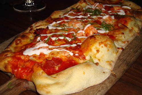 Shrimp and Chorizo Flatbread at Beso