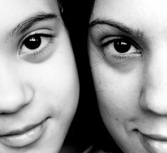 ... Just the two of us ... (Franca Alejandra) Tags: portrait blackandwhite bw blancoynegro look closeup eyes retrato bn f franchi mirada biancoenero fabiana francafranchi