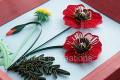 Quilled poppies, detail (Inna's Creations) Tags: flowers flower paper artwork handmade crafts dandelion poppy poppies decor   filigree quilling