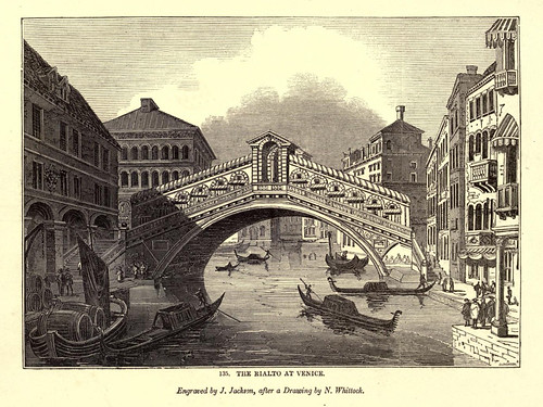 014- El puente Rialto en Venecia -One hundred and fifty wood cuts, selected from the Penny magazine 1835