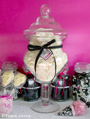 Halloween Candy table ideas (toriejayne) Tags: pink white black halloween silver skulls mms holidays candy lace label decoration marshmallows ribbon poison licorice jars stylish tablemat lolipops toriejayne