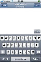 Tweetie 2-Screenshot: Tweet schreiben (1)