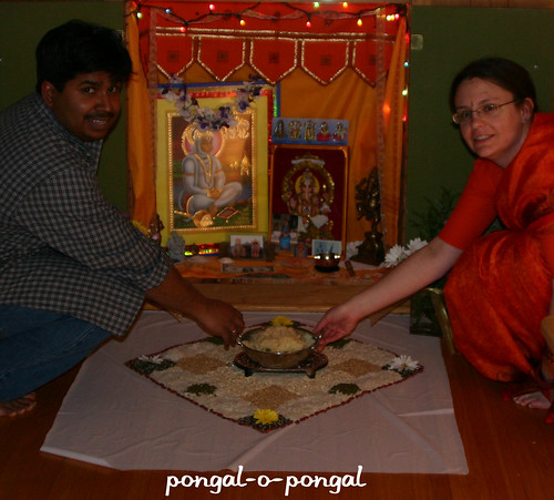 Placing Pongal on the kolum