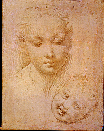 1511  Raphael    Study of the Heads of the Virgin and Child  Metalpoint on pink prepared paper  14,3x11 cm  Londres, British Museum