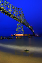 Astoria-Megler Bridge (Jon Asay ) Tags: bridge night oregon river washington nikon long exposure columbia astoria pacificnorthwest 1855mm continuous megler truss d40    thisisabridgeworthsleepingunder