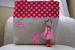 Kelsey's Gifts-Bag plus Doll (GoingSewCrazy) Tags: pink red house bag toy diy doll dress handmade sewing painted sew snap sugar purse ric rac dollhouse spool dollie