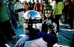 The Chrome Dome kid (SFD (professional loungist)) Tags: holiday snow reflection kids snowboarding lift helmet toycamera goggles chrome queue skis viv uws piste skiers trashcam skiwear vivitarultrawideandslim