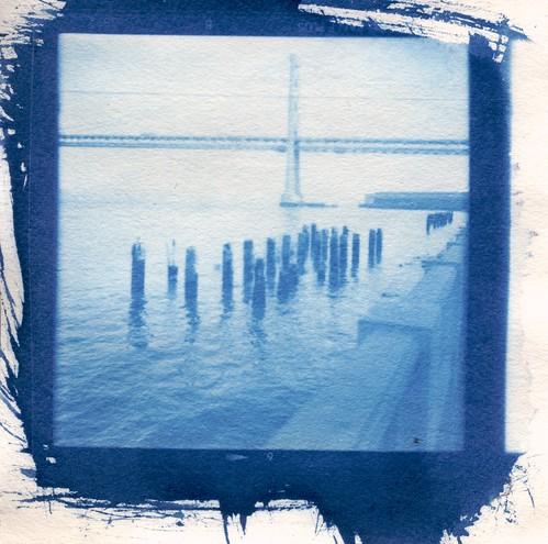 Bay Bridge with Pilings Cyanotype