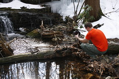 Shep taking more photos (1987porsche944) Tags: winter snow cold water river outdoors waterfall newjersey photographer hiking nj shep icy appalachiantrail sussexcounty at