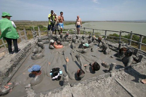 On the top of El Totumo - the strange mud volcano, 50 km NE of Cartagena - Colombia.