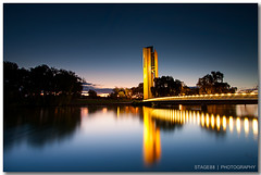 National Carillon In Canberra (Sam Ili) Tags: bridge light sunset sky lake color reflection building water silhouette night canon australia national canberra griffin hdr burley carillon explored canberrasunset redbubble canon1022mm3545