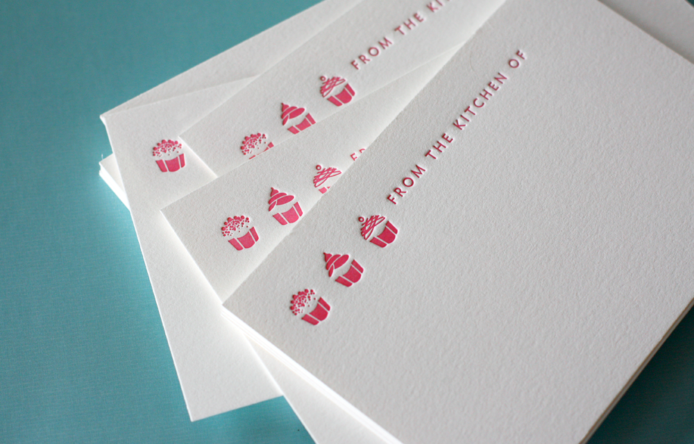 Letterpress Cupcake Recipe Card