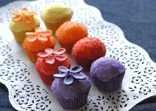 ... : Purple, red, orange and yellow flower cupcakes with colored sugar