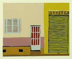 xilo casa porta amarela (Fernanda Simionato) Tags: color cores print front fachada woodcut woodblock gravura xilo xilogravura