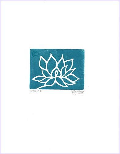 lotus #1: teal on white.